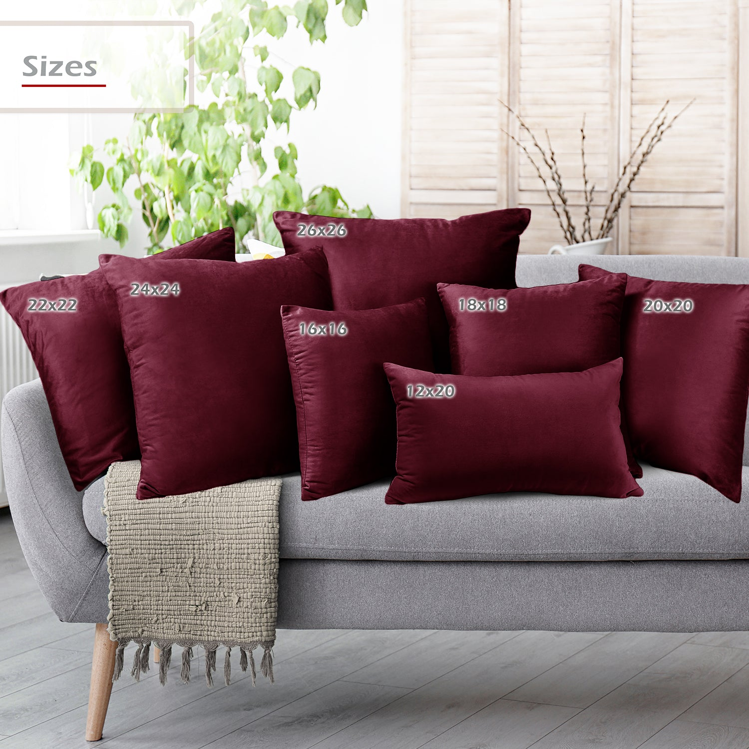 2 Pack 12 x 20 Nestl Bedding Throw Pillow Covers, Cozy Velvet Decorative Outdoor Pillow Covers, Soft Solid Cushion Covers for Sofa, Bed and Car