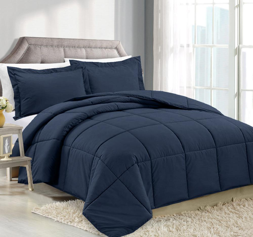 Clara Clark Alternative Goose Down Comforter Navy Blue
