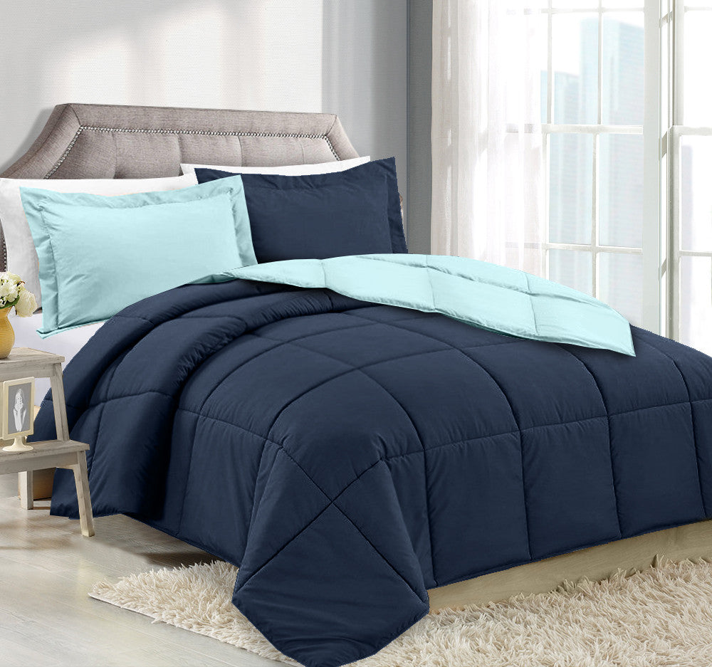 CLARA CLARK DOWN ALTERNATIVE COMFORTER TWIN-X-LARGE SIZE, 66 IN. X 92 IN. With 1 Pillow Sham Navy / Aqua
