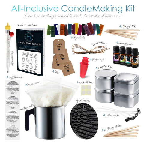 Hearth & Harbor DIY candle kit with 16 different colors, 4 bottles of 1 oz. fragrance Two sets together 3 finger protectors, 4 pieces of kraft card with 18inch string 100 glue dots for the fragrance bottles 14x0.4cm black rubber pot holder