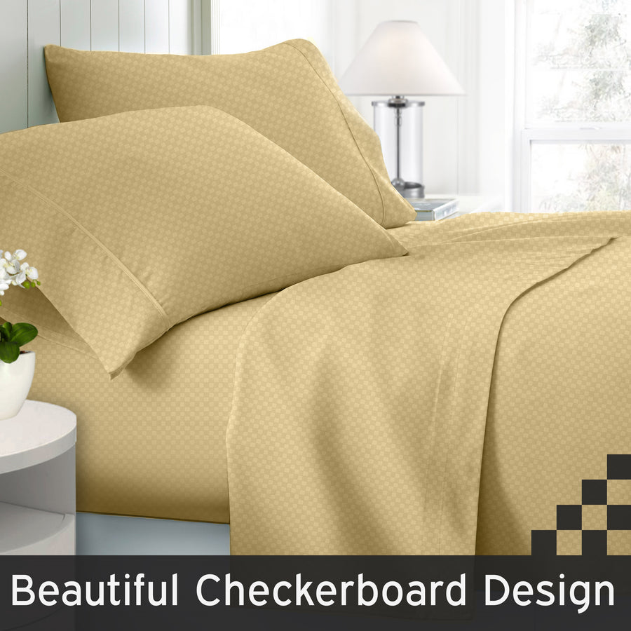 Clara Clark 1800 Series Checkerboard Bed Sheet Set