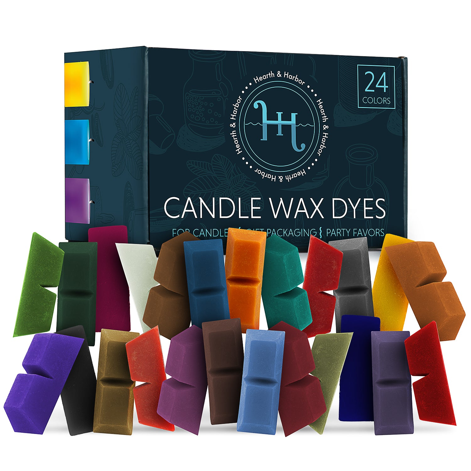 Hearth & Harbor Candle Wax Dyes – 24 Color Blocks for DIY Candle Making – Concentrated Wax Dye Flakes for All Kinds of Wax (Soy/Gel) – Premium Wax Coloring Dye Chips – Nontoxic Candle Making Supplies