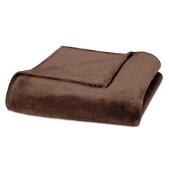 Clara Clark Micro Polar-Fleece Blanket, Chocolate