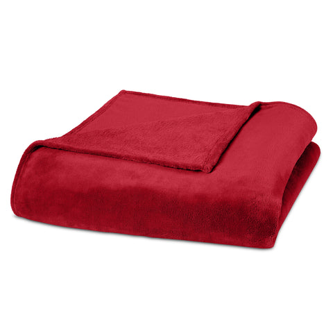 Clara Clark Micro Polar-Fleece Blanket, Burgundy