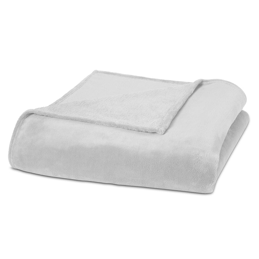 Clara Clark Micro Polar-Fleece Blanket, White