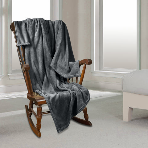 Clara Clark Micro Polar-Fleece Blanket, Gray