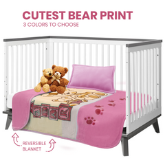 Hearth & Harbor Silky Soft Minky Toddler/Children Blanket - Ultra Plush, Thick & Warm - 39x51 inches Bear Prints
