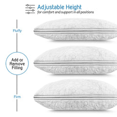 Nestl Bedding Gel-Infused Memory Foam Pillow | Shredded Memory Foam Pillow | Hypoallergenic Pillow Cover | CertiPUR US Approved | Pillows for Sleeping