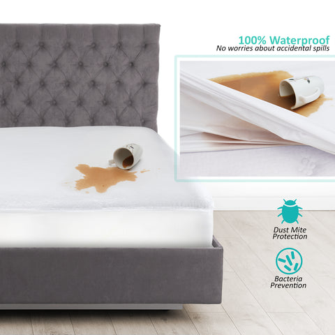 Nestl Bedding Premium Cotton Terry Mattress Protector – Hypoallergenic and Waterproof Toddler Mattress Protector – Breathable & Noiseless Cover