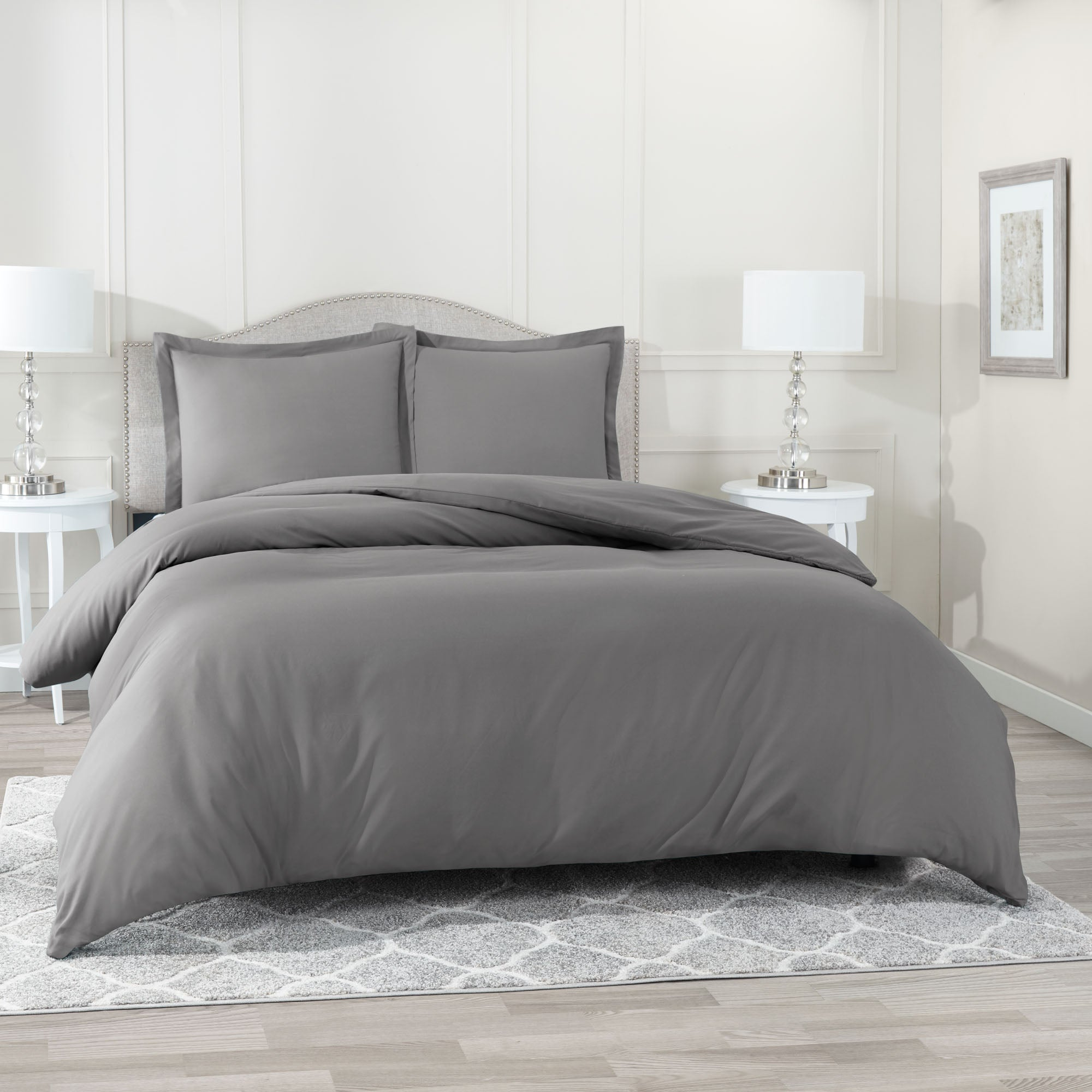 Clara Clark Duvet Cover 3 Piece Set – Ultra Soft Double Brushed Microfiber Hotel Collection – Comforter Cover with Button Closure and 2 Pillow Shams
