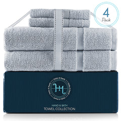 Hearth & Harbor 985 & 600 GSM Towel Collection – 100% Cotton Luxury Set of 2 Bath Mat Towel 985 GSM & 2 Wash Cloths  600 GSM – Ultra Soft & Absorbent Bath Mat Towel  & Washcloths for Bathroom