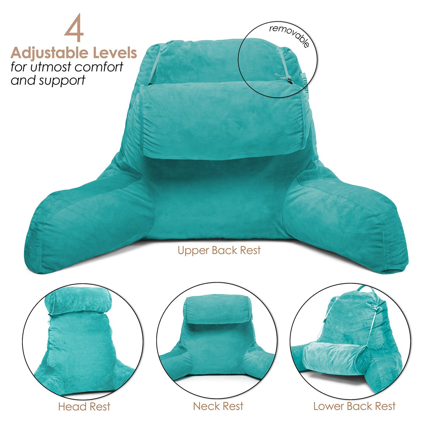 Clara Clark Reading Pillow, Medium Bed Rest Pillow with Arms for Kids Teens & Adults – Premium Shredded Memory Foam TV Pillow
