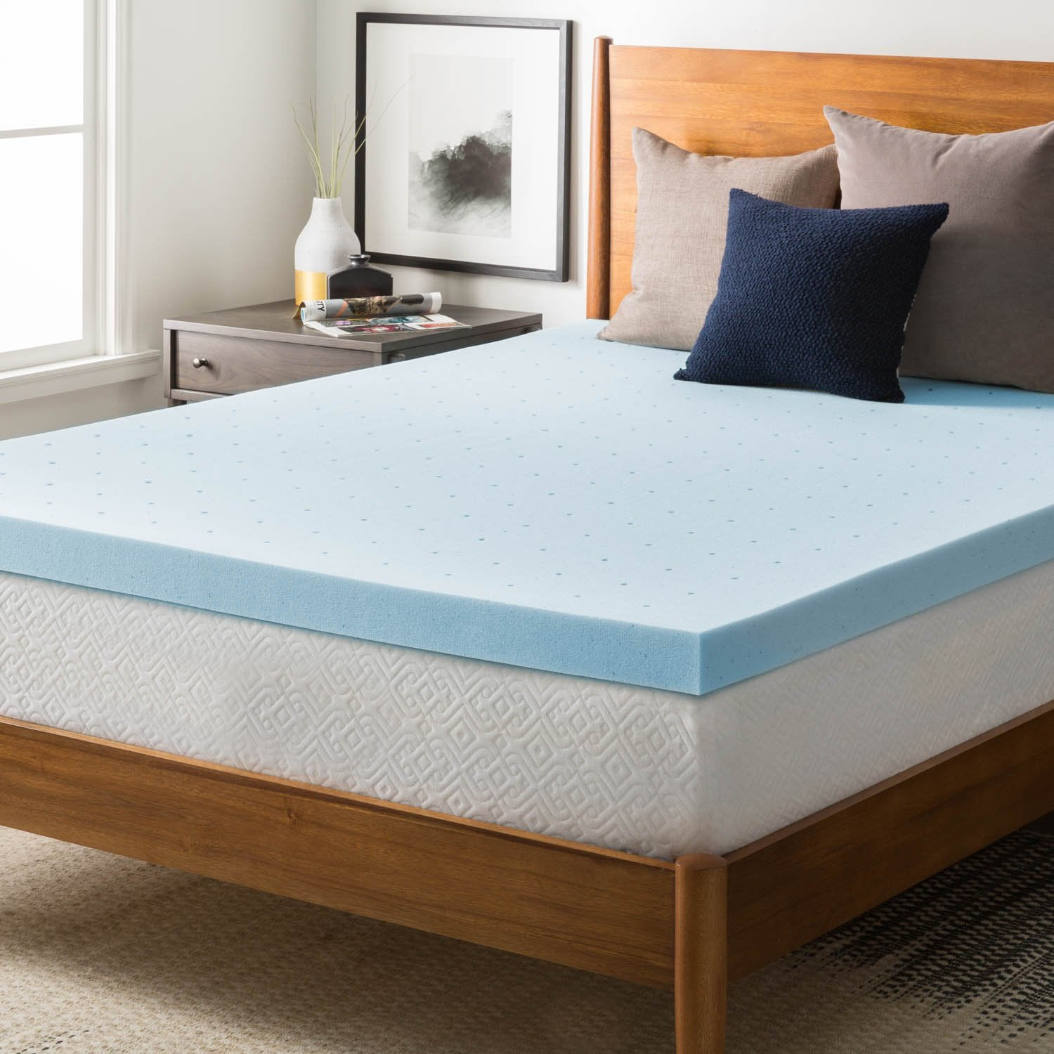 Nestl Bedding Mattress Topper, Memory Foam Topper, Gel Infused Memory Foam Mattress Topper, Ventilated Design Mattress Pad