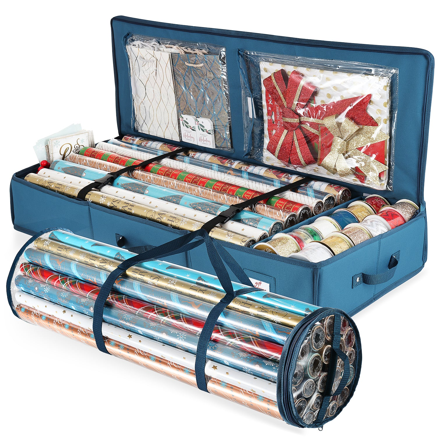 Hearth & Harbor Gift Wrap Storage Organizer Set - Set of 2 Christmas Organizer Storage Containers For Holiday Wrapping Paper And Accessories