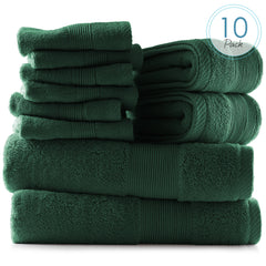 Hearth & Harbor 600 GSM Hand & Bath Towel Collection – 100% Cotton Luxury Set of 2 Bath Towels, 2 Hand Towels & 6 Washcloths – Ultra Soft & Absorbent Wash Cloth & Towel for Bathroom and Beach - Green