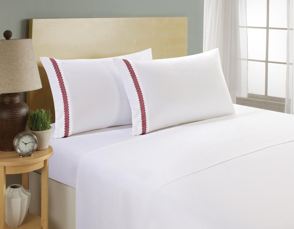 Bed sheets designs white - Clara Clark 1800 Series White Bed Sheet Set With Chevron Colored Design On Pillowcase