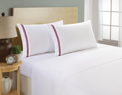 Clara Clark 1800 Series White Bed Sheet Set with Chevron Colored Design on Pillowcase