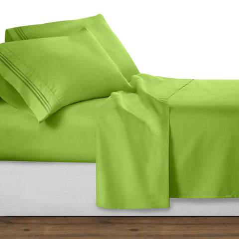 Clara Clark Bright Spring Colors 1800 Series Deep Pocket Premier Bed Sheet Set