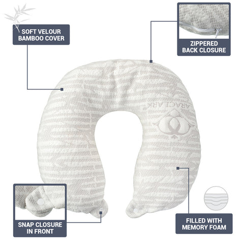 Hypoallergenic Memory Foam Travel Pillow, Large, White
