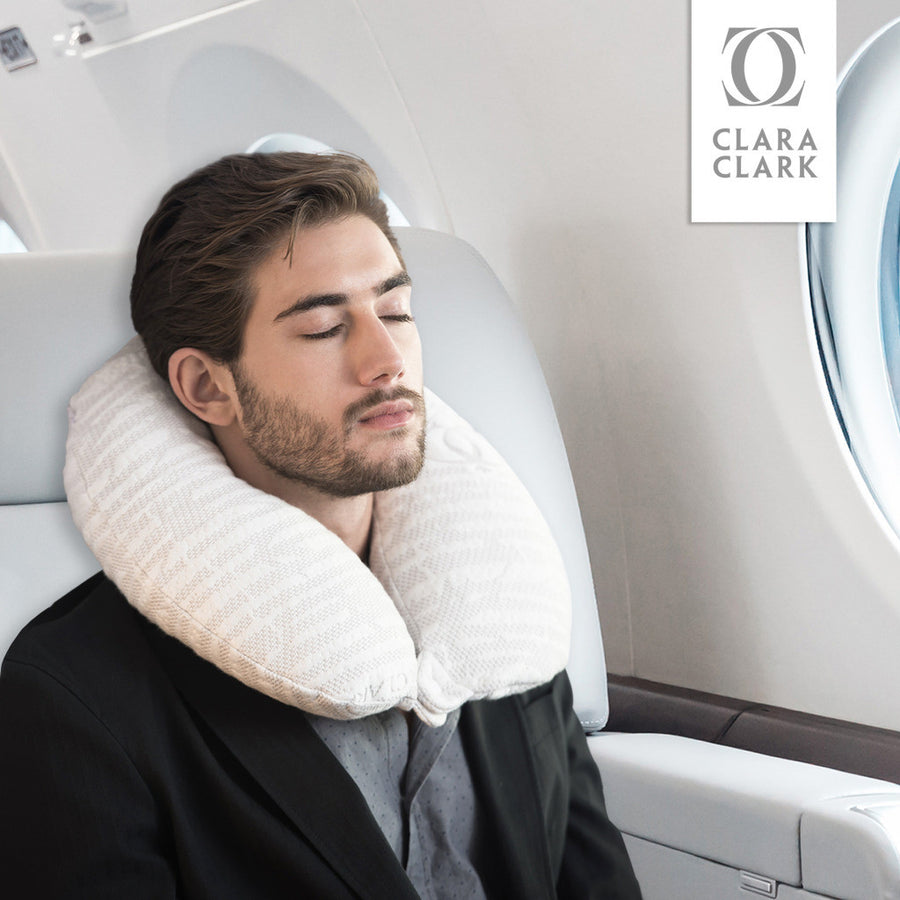 Clara Clark Hypoallergenic Memory Foam Travel Pillow, Large, White