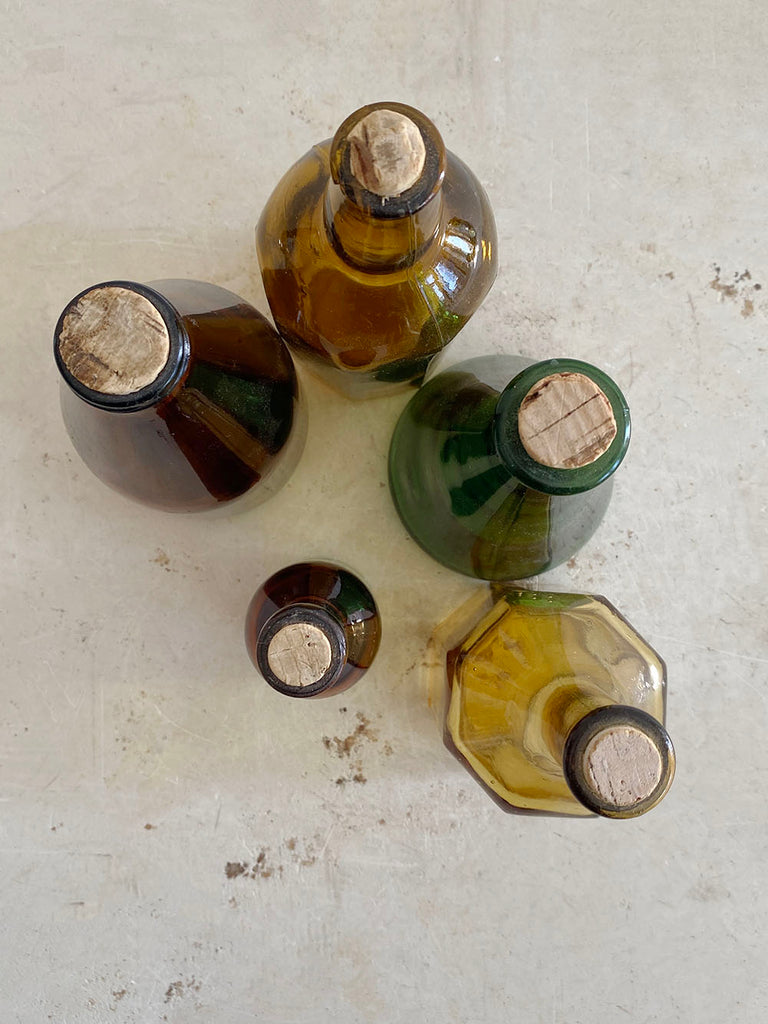 Set of 5 Jewel Toned Glass Bottles w/ Cork Tops