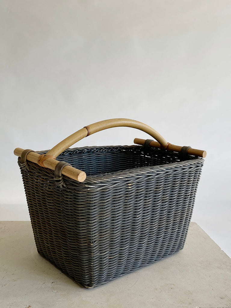 Steely Blue Wicker Magazine Basket