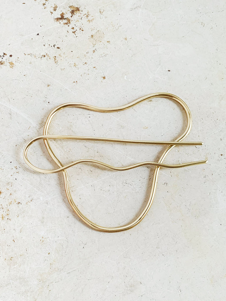 Brass Hair Squiggle + Pin Combo