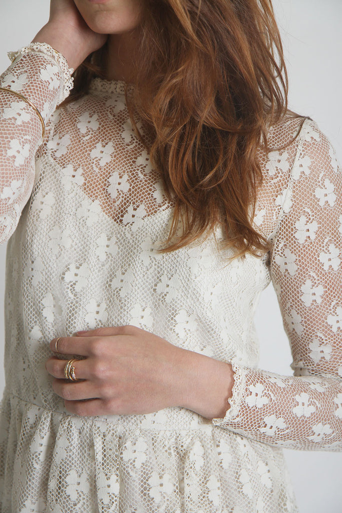 ON SALE // Handmade Ivory Lace City Prairie Dress