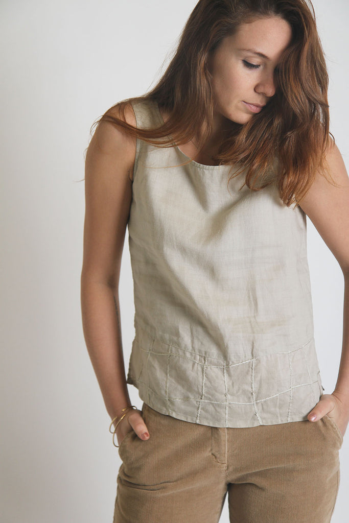 Carry Back Oat Tank with Loose Grid Hem