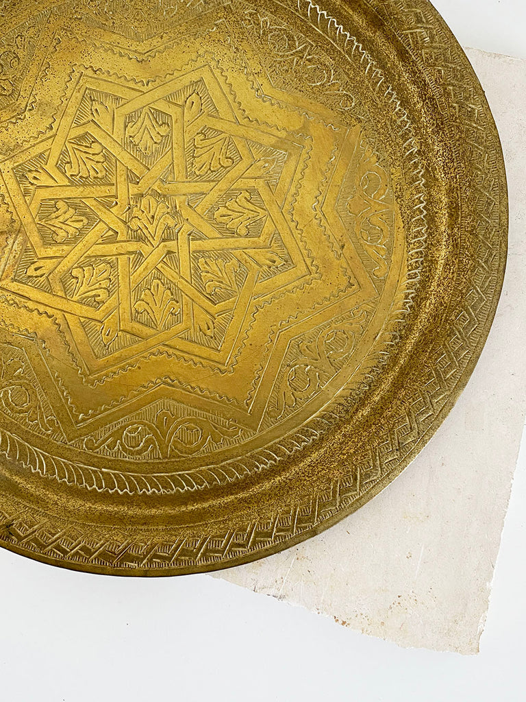 Etched Brass Round Tray