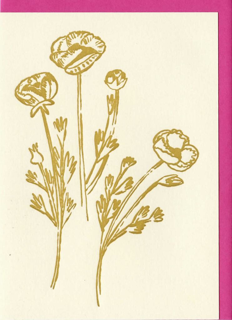 Gold Flowers Card