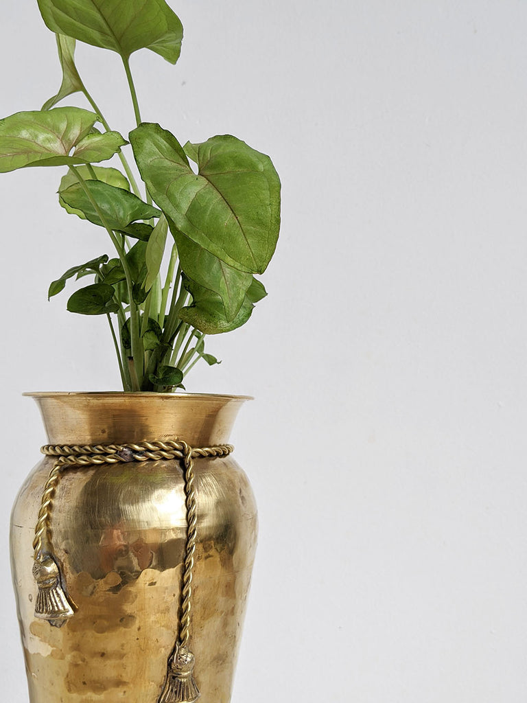 Tall Brass Planter with Tassel