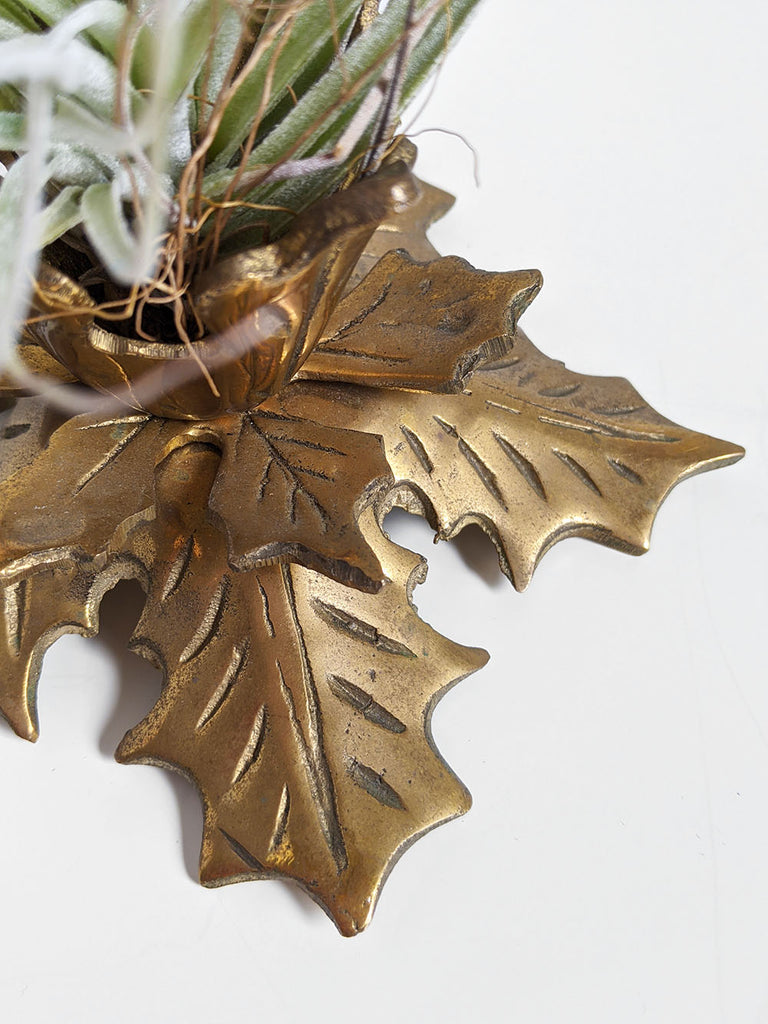 Brass Maple Leaf Candlestick