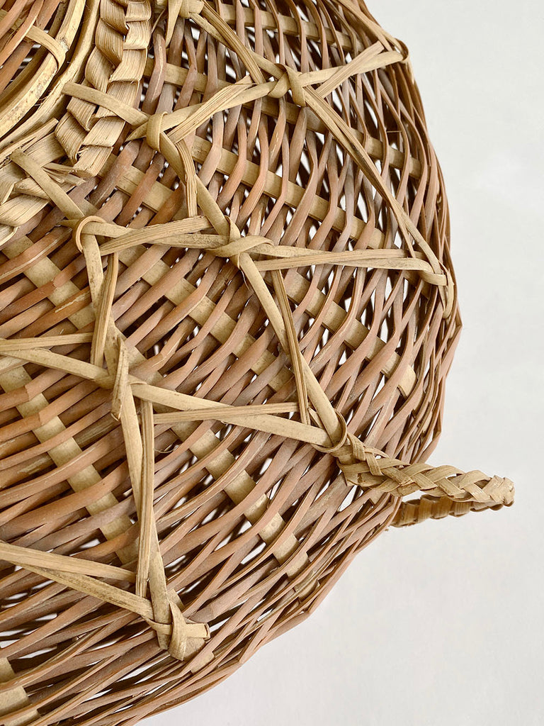 Large Intricate Wicker Basket with Lid