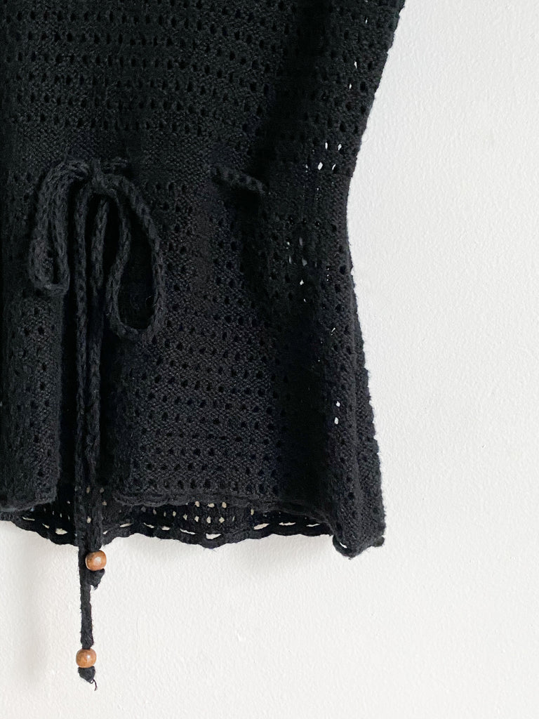 Black Open Knit Tank With Wooden Bead Detail