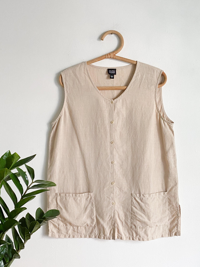 Eileen Fisher Linen Smock Top sz m