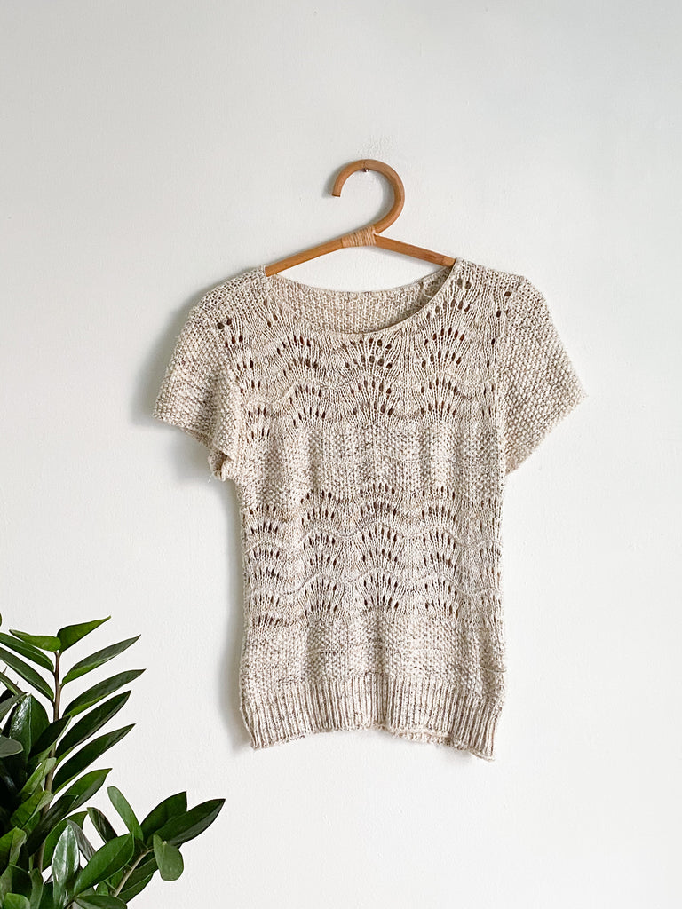 Oatmeal Wave Knit Shortsleeved Sweater