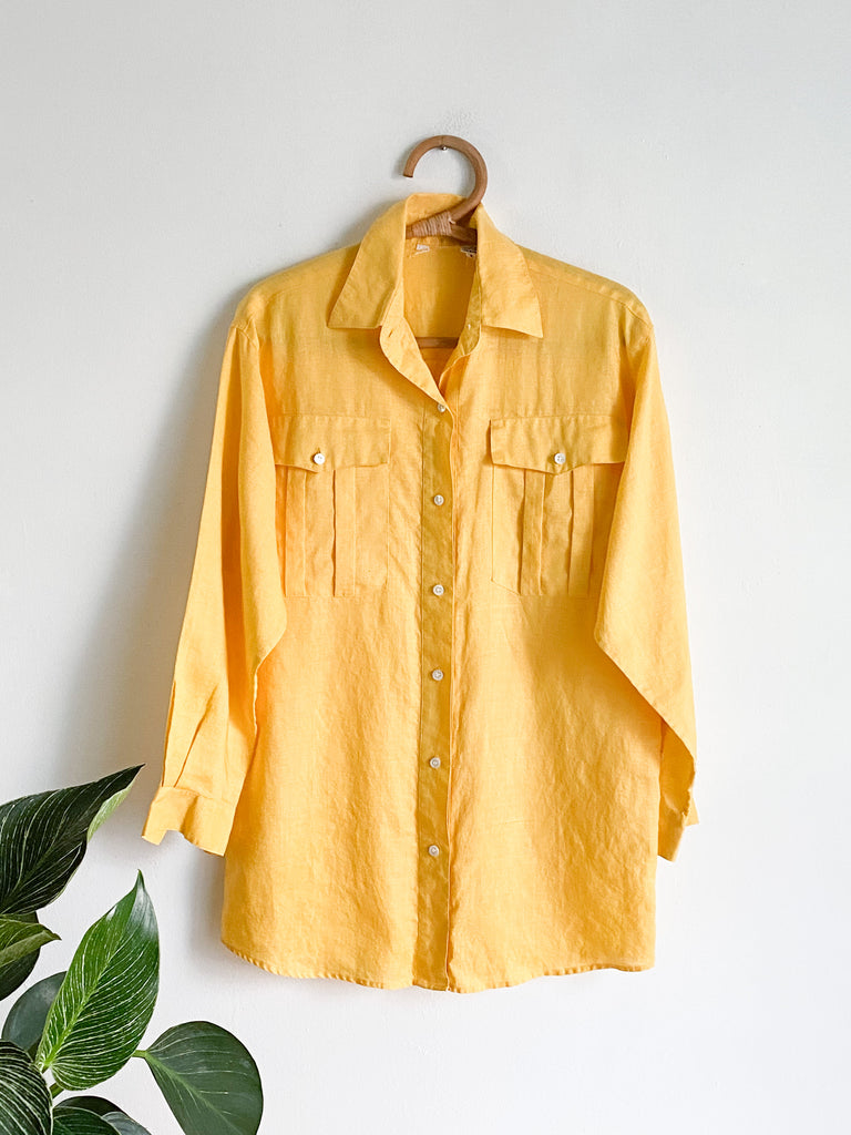 Golden Yellow Cotton Button Up