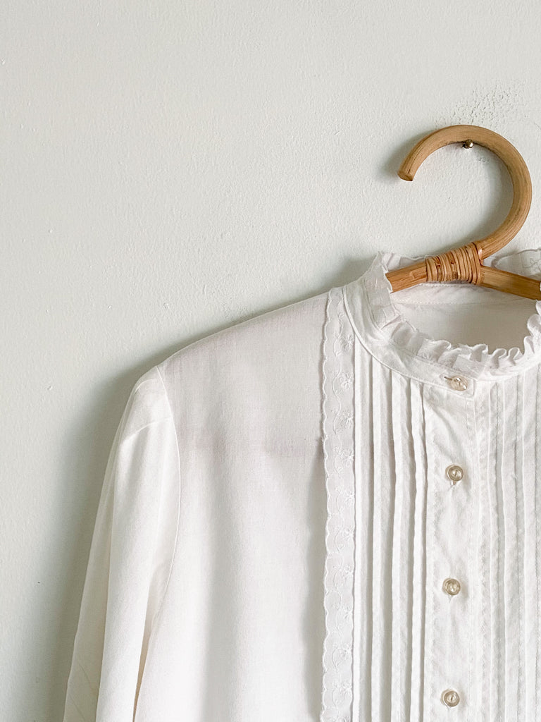 White Cotton Button Up Blouse
