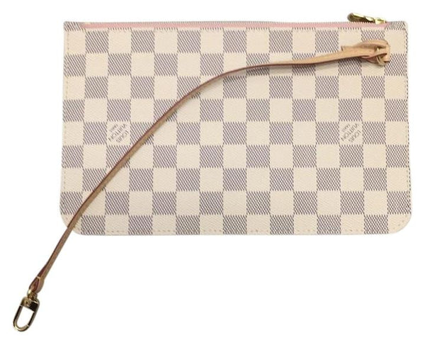 Neverfull Mm Or Gm Damier Azur Rose Ballerine Wristlet Wallet Pouch Never Used. Rare Clutch