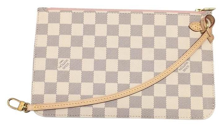 e51c3f37657 Neverfull Mm Or Gm Damier Azur Rose Ballerine Wristlet Wallet Pouch Never  Used. Rare Clutch