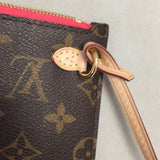 Neverfull Mm Or Gm Monogram Wristlet Wallet Pouch In Limited Edition Hot Pink That Came With The V Neverfull . Gently Clutch