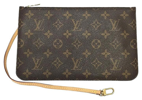 Neverfull Mm Or Gm Monogram Mimosa Wristlet Used Clutch