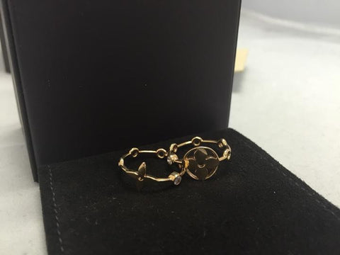 18k Yellow Gold With Diamonds Monogram Stackable Rings Size 5.5