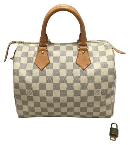 Speedy 25 Damier Azur. Lock And Key. Date Code Sd3180 Satchel