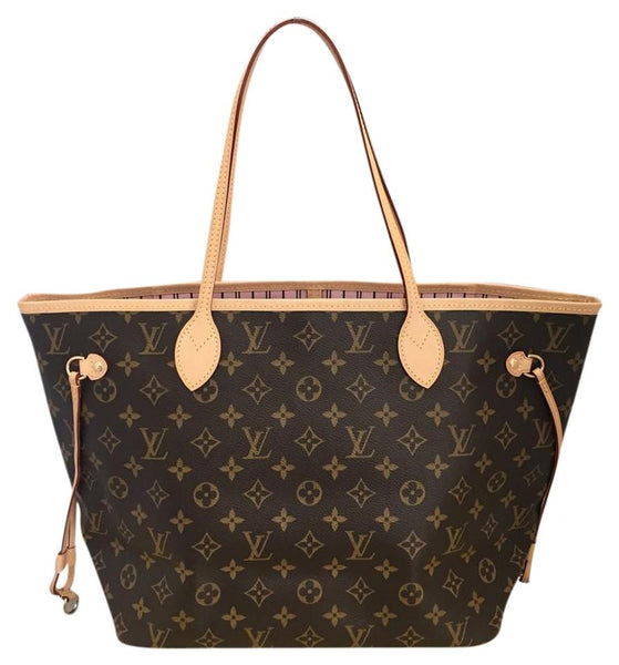 Neverfull Mm Monogram Rose Ballerine Tote Bag