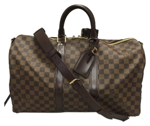 Keepall 45 Bandouliere Damier Ebene In Very Good Condition Travel Bag
