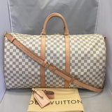 Keepall Bandouliere 55 Damier Azur Travel Bag