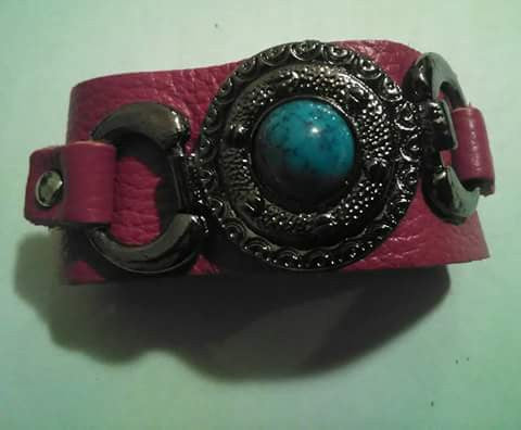 Pink Leather and Stone Cuff