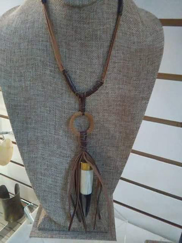 African Bone Leather Necklace